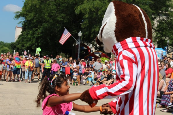 Bucky Badger Dancing with Friend